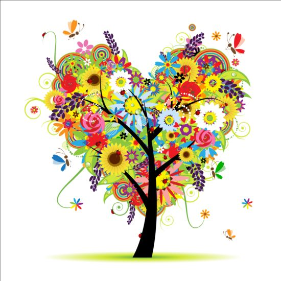 Floral heart tree vector tree heart floral