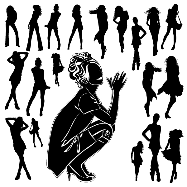 Different Women Silhouettes vector material 10 women silhouettes silhouette material different