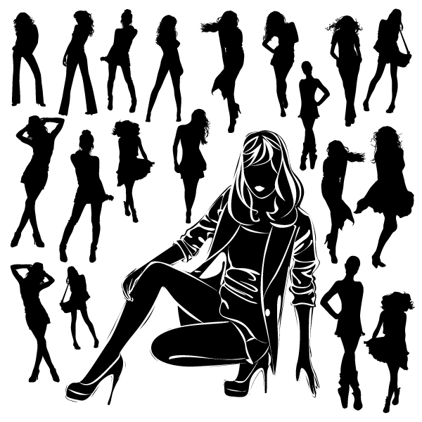 Different Women Silhouettes vector material 09 women silhouettes silhouette material different