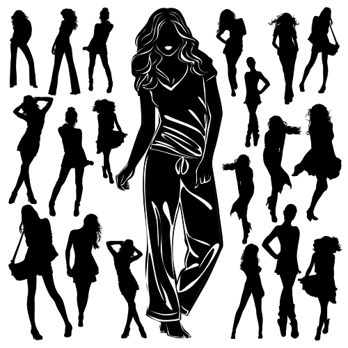 Different Women Silhouettes vector material 08 women silhouettes silhouette material different