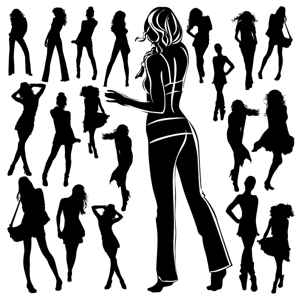 Different Women Silhouettes vector material 07 silhouettes silhouette material different